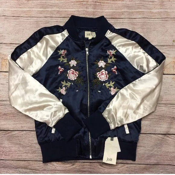 eccd2bb1be4 NWT Jolt floral embroidered Bomber Jacket S